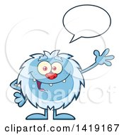 Clipart Of A Cartoon Yeti Abominable Snowman Talking And Waving Royalty Free Vector Illustration by Hit Toon
