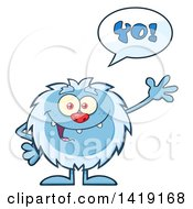 Cartoon Yeti Abominable Snowman Talking And Waving