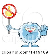 Cartoon Yeti Abominable Snowman Holding A No Fire Sign
