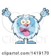 Clipart Of A Cartoon Yeti Abominable Snowman Scaring Royalty Free Vector Illustration