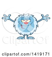Clipart Of A Cartoon Yeti Abominable Snowman With Open Arms Royalty Free Vector Illustration by Hit Toon