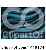 Clipart Of A Glittery Blue Wave Background Royalty Free Vector Illustration