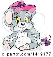 Clipart Of A Cartoon Female Mouse Sitting And Wearing A Pink Hat Royalty Free Vector Illustration