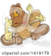 Clipart Of A Cartoon Spider Walking And Giving Thumbs Up Royalty Free Vector Illustration