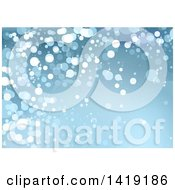 Clipart Of A Christmas Background With Blue Glittery Lights Royalty Free Vector Illustration by dero