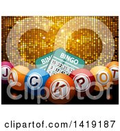 Clipart Of 3d Bingo Cards And Jackpot Balls Over A Gold Disco Texture Royalty Free Vector Illustration