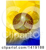 Clipart Of A 3d Gold Disco Ball Shining Over Yellow And Blue Geometric Designs Royalty Free Vector Illustration