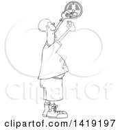 Clipart Of A Cartoon Black And White Lineart Chubby African Man Putting A New Battery In A Smoke Detector Royalty Free Vector Illustration