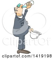 Cartoon Thirsty Caucasian Male Worker Wearing Coveralls And Drinking Water