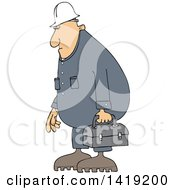 Cartoon Chubby Caucasian Male Worker Wearing Coveralls And Carrying A Lunch Box
