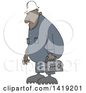 Cartoon Chubby African Male Worker Wearing Coveralls And Carrying A Lunch Box