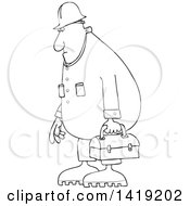 Clipart Of A Cartoon Black And White Lineart Chubby Male Worker Wearing Coveralls And Carrying A Lunch Box Royalty Free Vector Illustration by djart