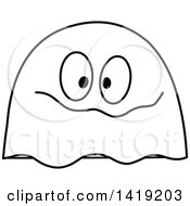 Black And White Goofy Ghost Emoticon