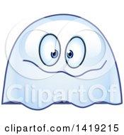 Clipart Of A Goofy Ghost Emoticon Royalty Free Vector Illustration by yayayoyo