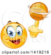 Sporty Smiley Face Emoji Emoticon Spinning A Basketball On His Finger