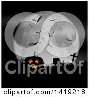 Clipart Of A 3d Lit Halloween Jackolantern Pumpkin In A Grassy Cemetery Against A Full Moon With Bats Royalty Free Vector Illustration