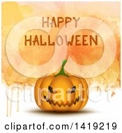 Clipart Of A Happy Halloween Greeting Over A 3d Jackolantern Pumpkin On Dripping Watercolor Royalty Free Vector Illustration