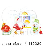 Clipart Of A White Boy Sleeping On Christmas Eve While Santa Peeks In His Window Royalty Free Vector Illustration