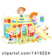 Clipart Of A Cat And White Boys Playing With Toys And A Slide In A Bedroom Royalty Free Vector Illustration