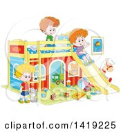 Clipart Of A Cat And Caucasian Boys Playing With Toys And A Slide In A Bedroom Royalty Free Vector Illustration