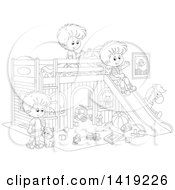 Clipart Of A Black And White Lineart Cat And Boys Playing With Toys And A Slide In A Bedroom Royalty Free Vector Illustration