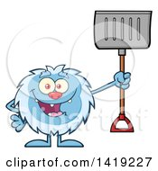 Clipart Of A Cartoon Yeti Abominable Snowman Holding A Snow Shovel Royalty Free Vector Illustration