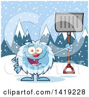 Clipart Of A Cartoon Yeti Abominable Snowman Holding A Shovel In The Snow Royalty Free Vector Illustration