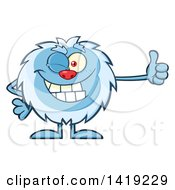 Clipart Of A Cartoon Yeti Abominable Snowman Winking And Giving A Thumb Up Royalty Free Vector Illustration by Hit Toon