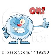 Clipart Of A Cartoon Yeti Abominable Snowman Winking Saying Ok And Giving A Thumb Up Royalty Free Vector Illustration by Hit Toon