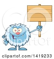 Clipart Of A Cartoon Yeti Abominable Snowman Holding Up A Blank Wood Sign Royalty Free Vector Illustration by Hit Toon
