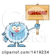 Clipart Of A Cartoon Yeti Abominable Snowman Holding A Welcome Sign Royalty Free Vector Illustration by Hit Toon