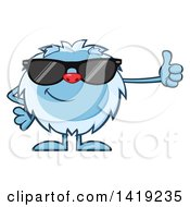 Clipart Of A Cartoon Yeti Abominable Snowman Wearing Sunglasses And Giving A Thumb Up Royalty Free Vector Illustration by Hit Toon