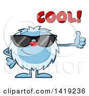 Clipart Of A Cartoon Yeti Abominable Snowman Wearing Sunglasses And Giving A Thumb Up With Cool Text Royalty Free Vector Illustration by Hit Toon