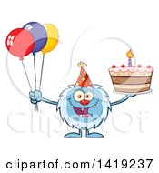 Clipart Of A Cartoon Yeti Abominable Snowman Holding A Birthday Cake And Party Balloons Royalty Free Vector Illustration by Hit Toon