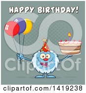 Clipart Of A Cartoon Yeti Abominable Snowman Holding A Birthday Cake And Party Balloons Under Text Royalty Free Vector Illustration