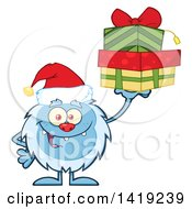 Cartoon Yeti Abominable Snowman Wearing A Christmas Santa Hat And Holding Gifts