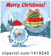 Cartoon Yeti Abominable Snowman Wearing A Christmas Santa Hat And Holding Gifts Under Text In The Snow