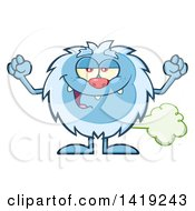 Clipart Of A Cartoon Yeti Abominable Snowman Farting Royalty Free Vector Illustration