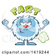 Clipart Of A Cartoon Yeti Abominable Snowman Farting Under Text Royalty Free Vector Illustration
