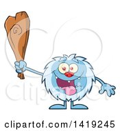 Clipart Of A Cartoon Yeti Abominable Snowman Holding A Club Royalty Free Vector Illustration by Hit Toon
