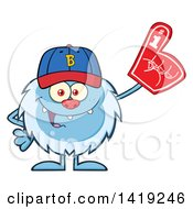 Cartoon Yeti Abominable Snowman Sports Fan Wearing A Baseball Cap And Foam Finger