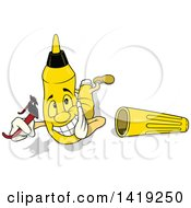 Clipart Of A Cartoon Yellow Marker Chararacter Laying On His Stomach And Holding Sunglasses Royalty Free Vector Illustration by dero