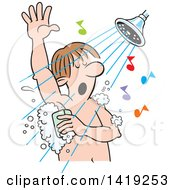Cartoon Caucasian Man Singing And Sudsing Up In The Shower