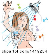 Clipart Of A Cartoon Caucasian Woman Singing And Sudsing Up In The Shower Royalty Free Vector Illustration by Johnny Sajem