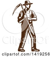 Clipart Of A Retro Brown And White Woodcut Male Farmer Holding A Scythe Royalty Free Vector Illustration by patrimonio