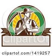 Clipart Of A Retro Brown And White Woodcut Male Farmer Holding A Scythe In A Sunset Circle Over A Blank Banner Royalty Free Vector Illustration