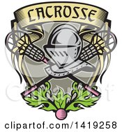 Clipart Of A Retro Knight Helmet Over Crossed Lacrosse Sticks And A Woodcut Banner Shield With Leaves And A Ball Royalty Free Vector Illustration