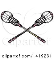 Clipart Of Retro Crossed Lacrosse Sticks With Pink Handles Royalty Free Vector Illustration