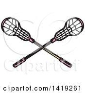 Retro Crossed Lacrosse Sticks With Pink Handles