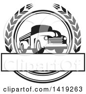 Clipart Of A Retro Black And White Vintage Pickup Truck In A Wheat Wreath Over A Text Box Royalty Free Vector Illustration by patrimonio